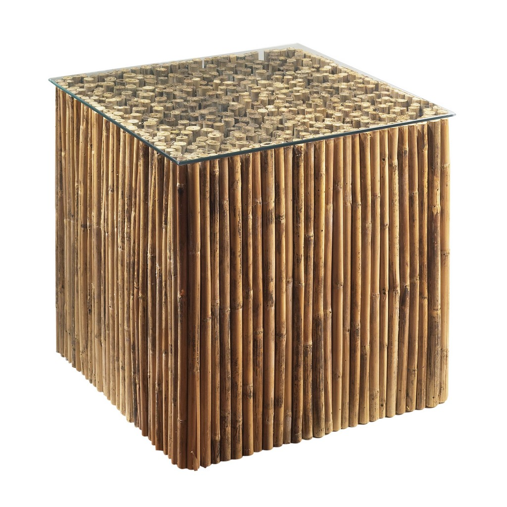 Bamboo Stick Bunching Table Base With Glass - Padma