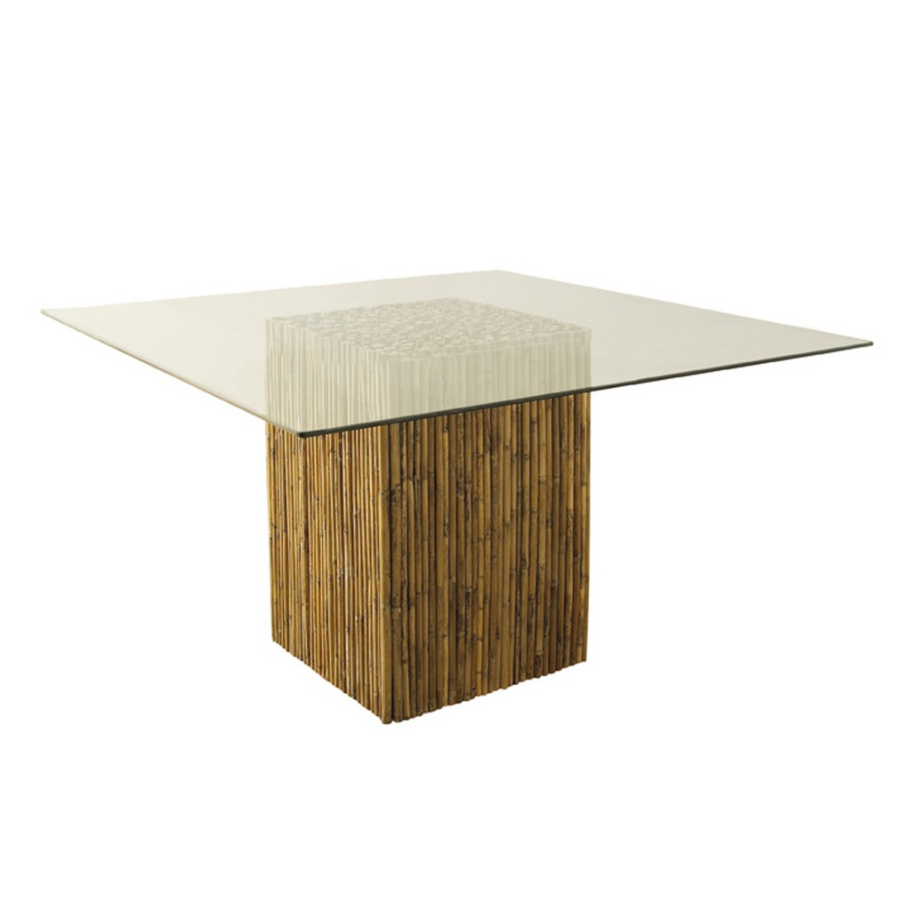 Bamboo Stick Dining Table Base With Glass - Padma