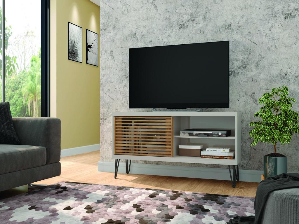 Frizz White TV Stand in White/Buriti - Bertolini F.90002.301