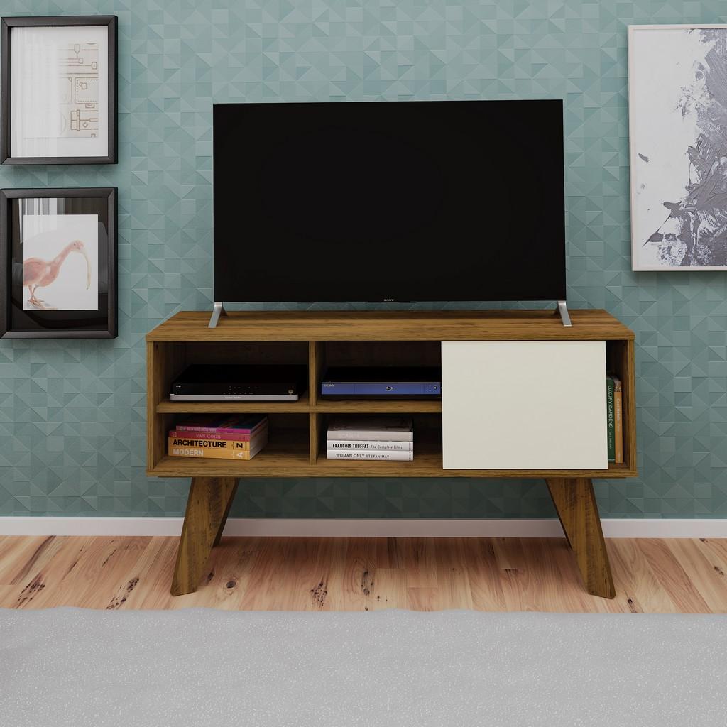 Portland TV Stand in Pine/Off White - Bertolini 4085