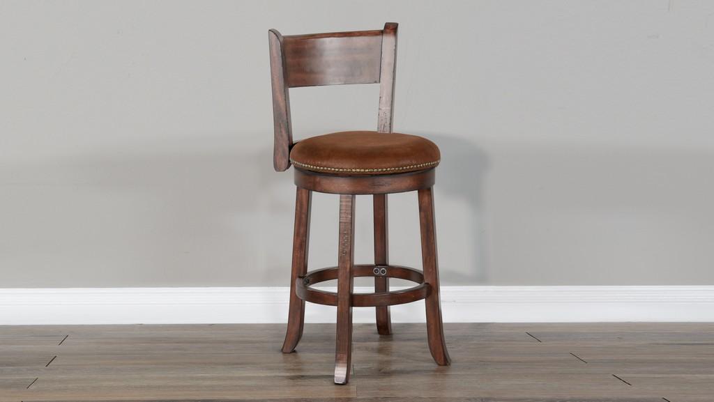 "24""H Swivel Barstool, Cushion Seat & Back - Sunny Designs 1646DC-B24"