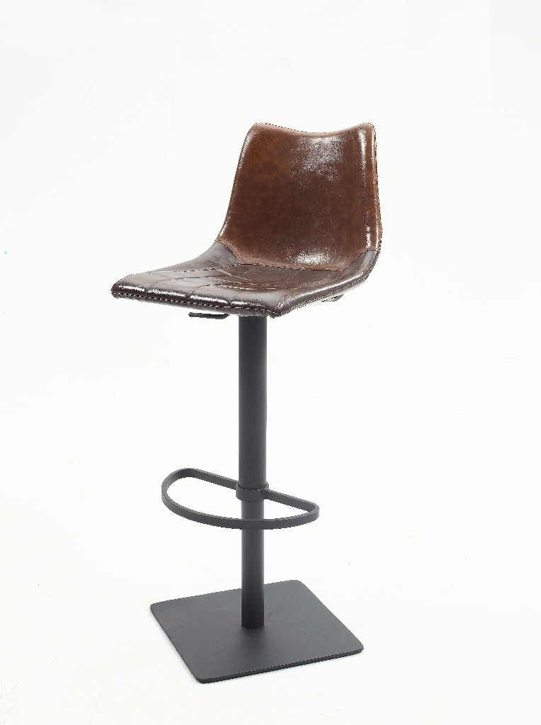 Chintaly Brown Vintage Style Pneumatic Stool 0875-AS-BRW