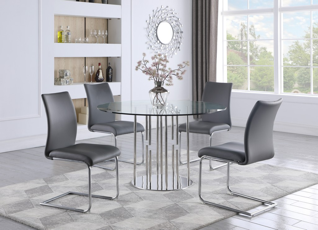 Dining Set Contemporary Round Glass Table Modern Contour Back Chairs