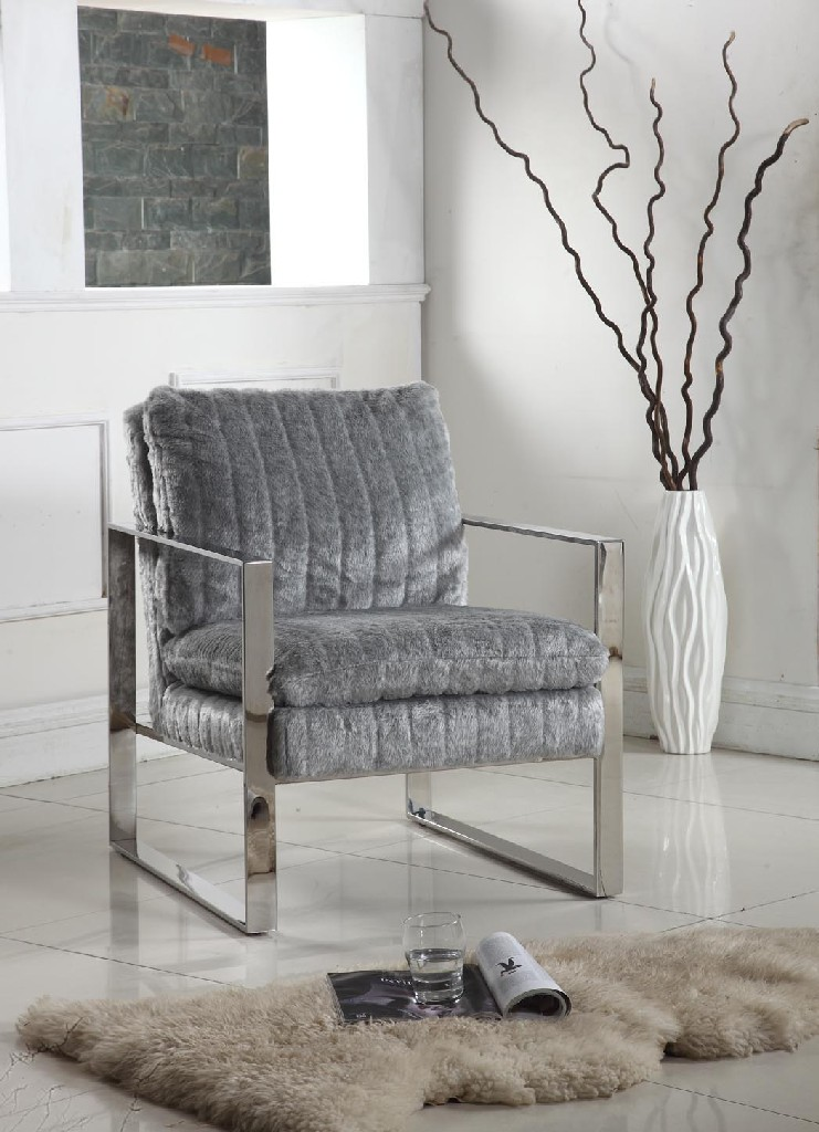 Chintaly Accent Armchair w/ Channel Back 2012-ACC-GRY