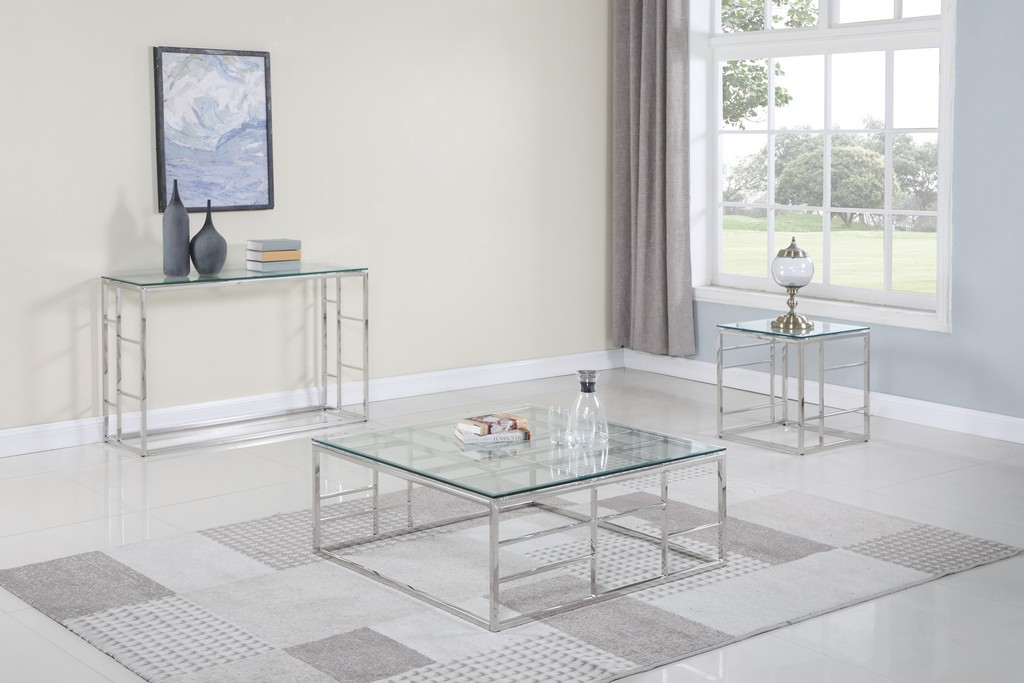"""15""""x 47"""" Glass Top w/ Ladder Style Frame - Chintaly 5073-ST"""