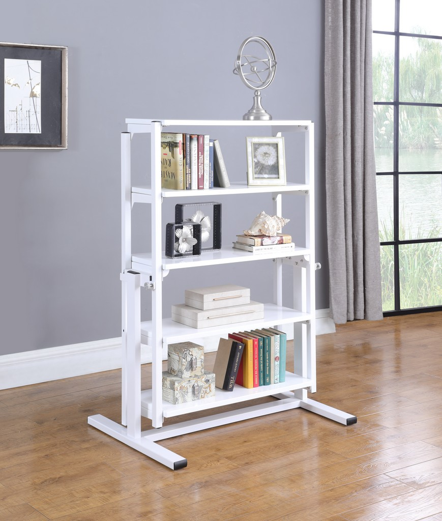 """32"""" Convertible Bookshelf and Dining Table - Chintaly 8473-DT-WHT"""