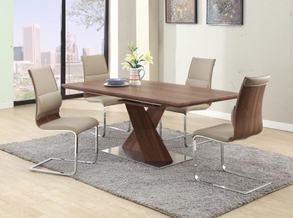 Modern Dining Set Extendable Table Chairs