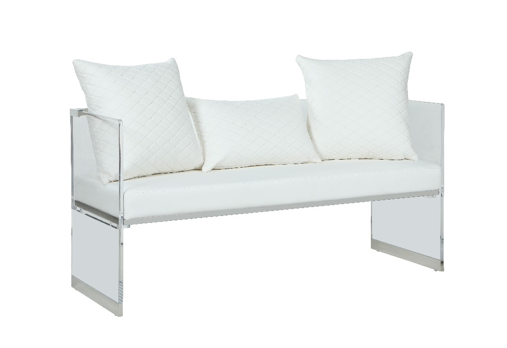 Chintaly Contemporary Acrylic Bench w/ Upholstered Seat CIARA-BCH-WHT