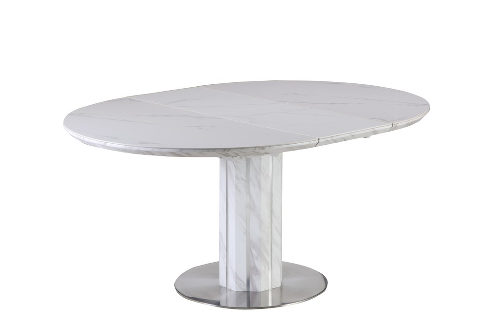 Contemporary Extendable White Top Dining Table