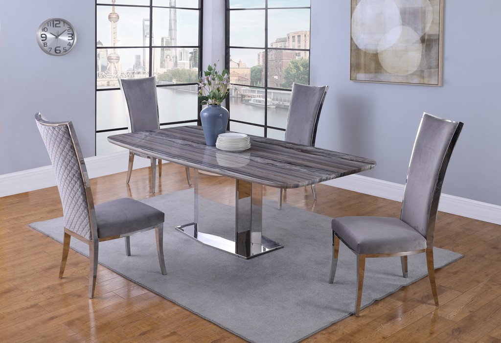 Chintaly Contemporary Dining Set Marble Top Table Chairs