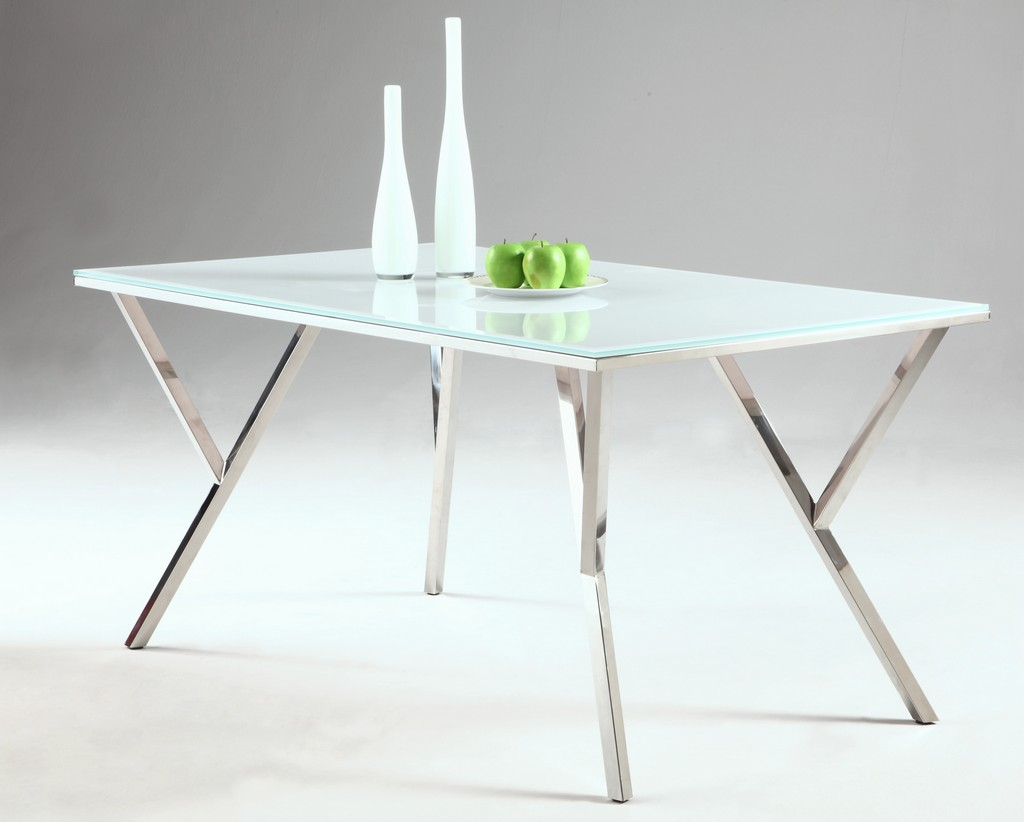 Modern Starphire Glass Top Dining Table