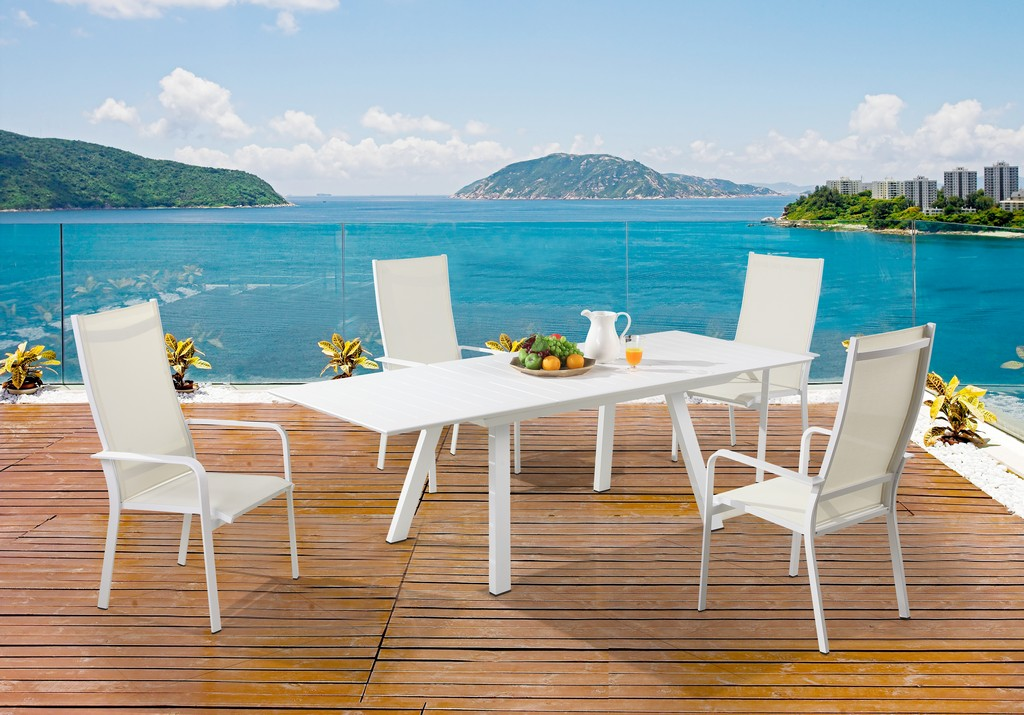 Contemporary Outdoor Uv Resistant Dining Set Extendable Table Hb Chairs