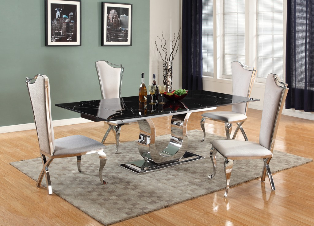 Contemporary Dining Set Extendable Marble Top Table Chairs