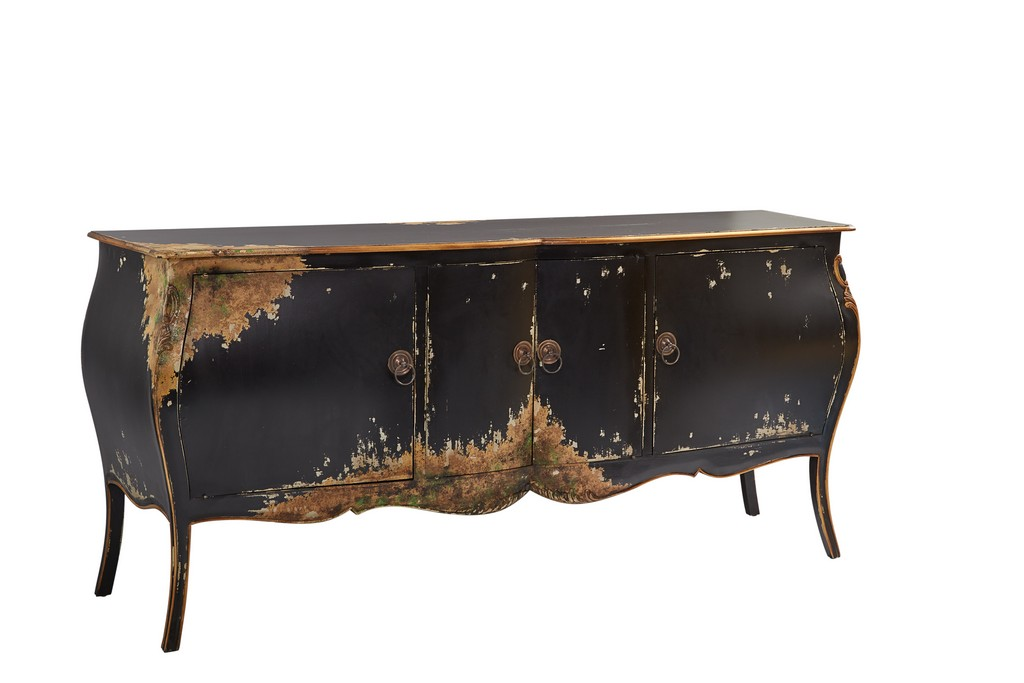 Black and Gold Four Door Bombay Chest - Furniture Classics 99779AW13