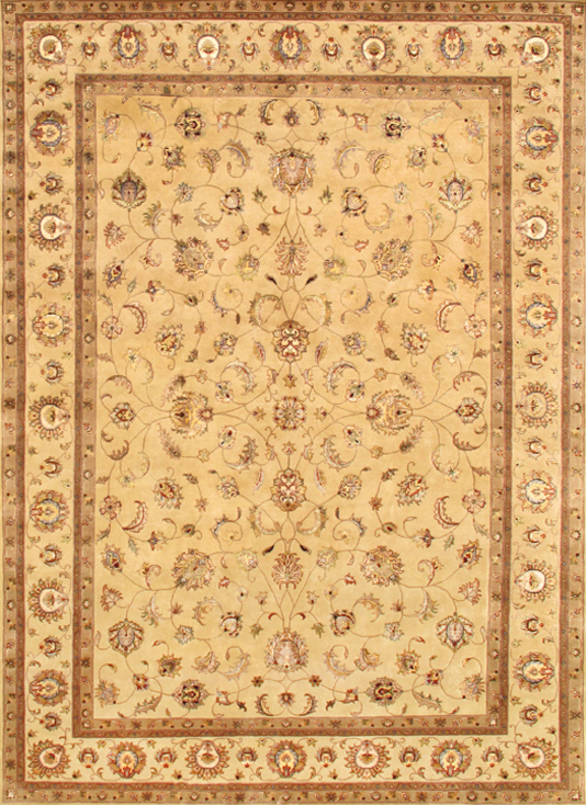 Agra Collection Hand-Knotted Silk and Wool Area Rug- 9