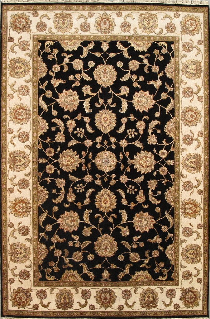 Agra Collection Hand-Knotted Silk and Wool Area Rug- 6