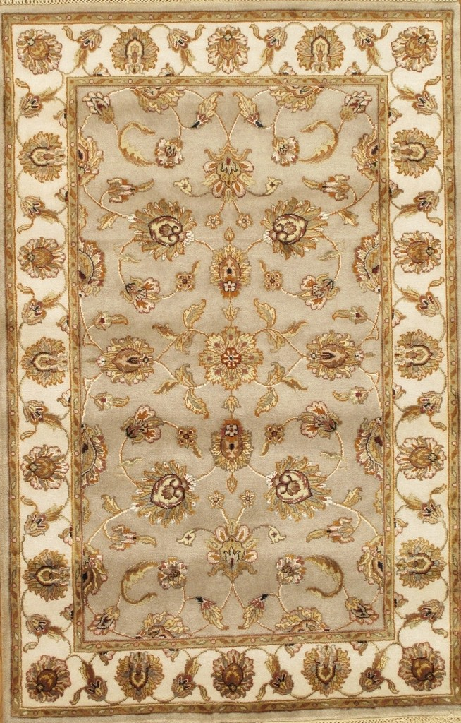 Agra Collection Hand-Knotted Silk and Wool Area Rug- 4