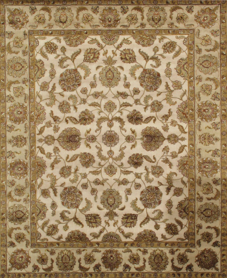 Agra Collection Hand-Knotted Silk and Wool Area Rug- 8