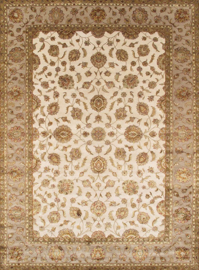 Agra Collection Hand-Knotted Silk and Wool Area Rug- 10