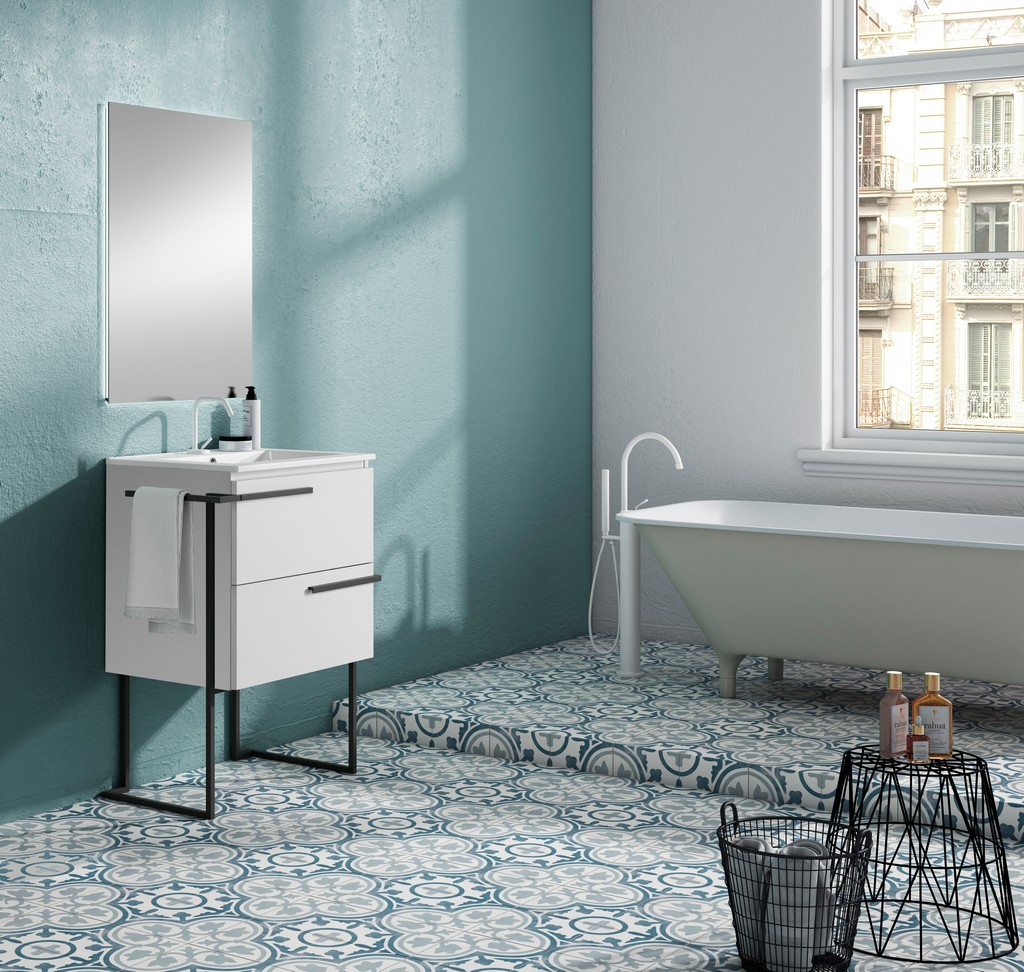 """24"""" White Scala Vanity with Legs and Towel Bar - Lucena Bath 3876LTB"""