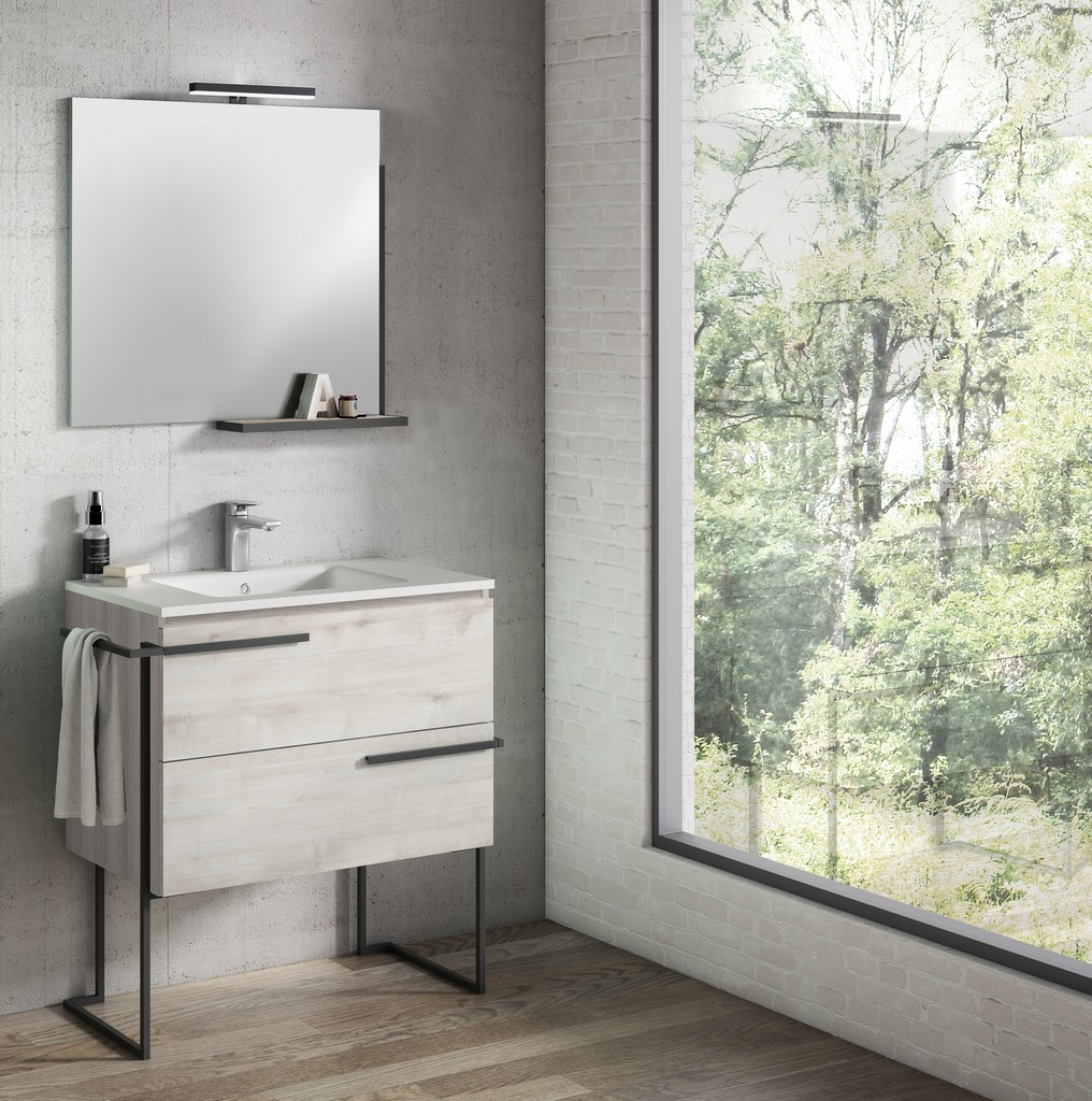 """32"""" Abedul Scala Vanity with Legs and Towel Bar - Lucena Bath 3880LTB"""