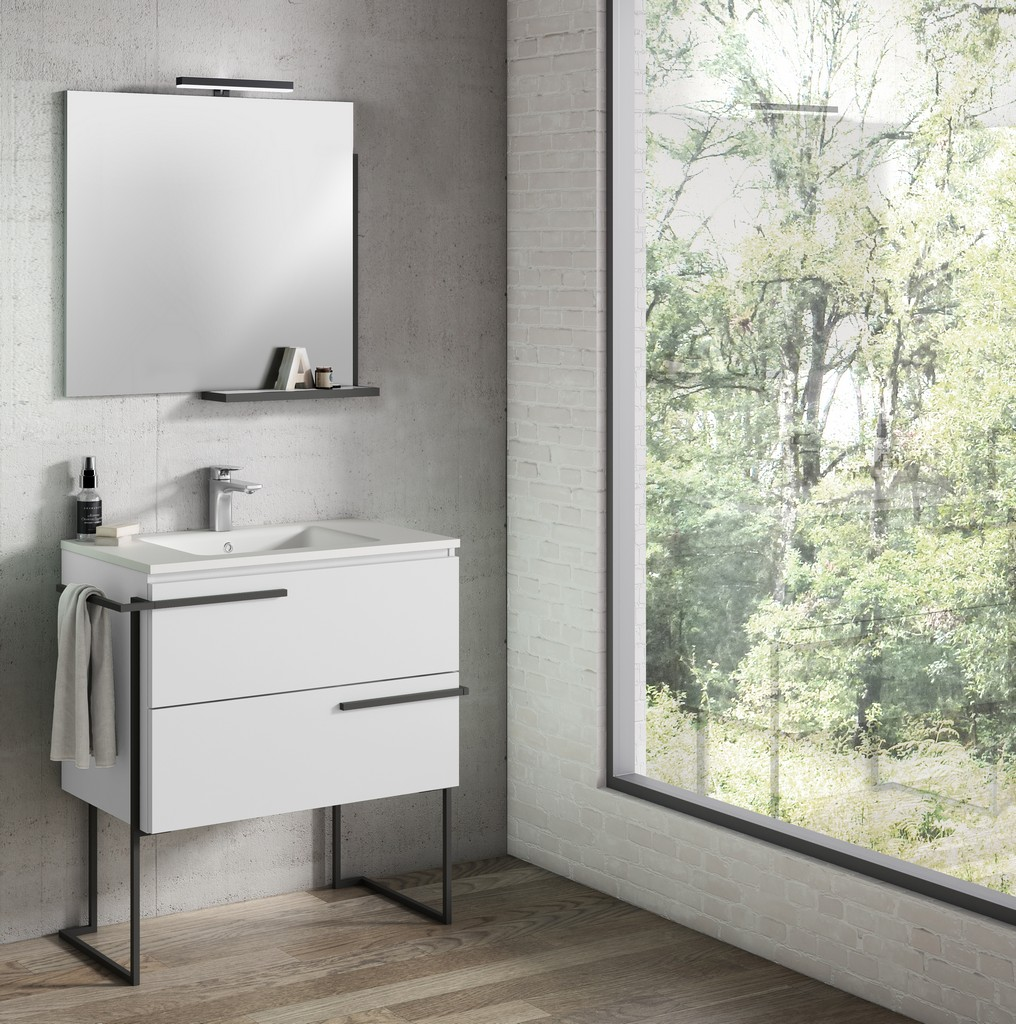 """32"""" White Scala Vanity with Legs and Towel Bar - Lucena Bath 3882LTB"""