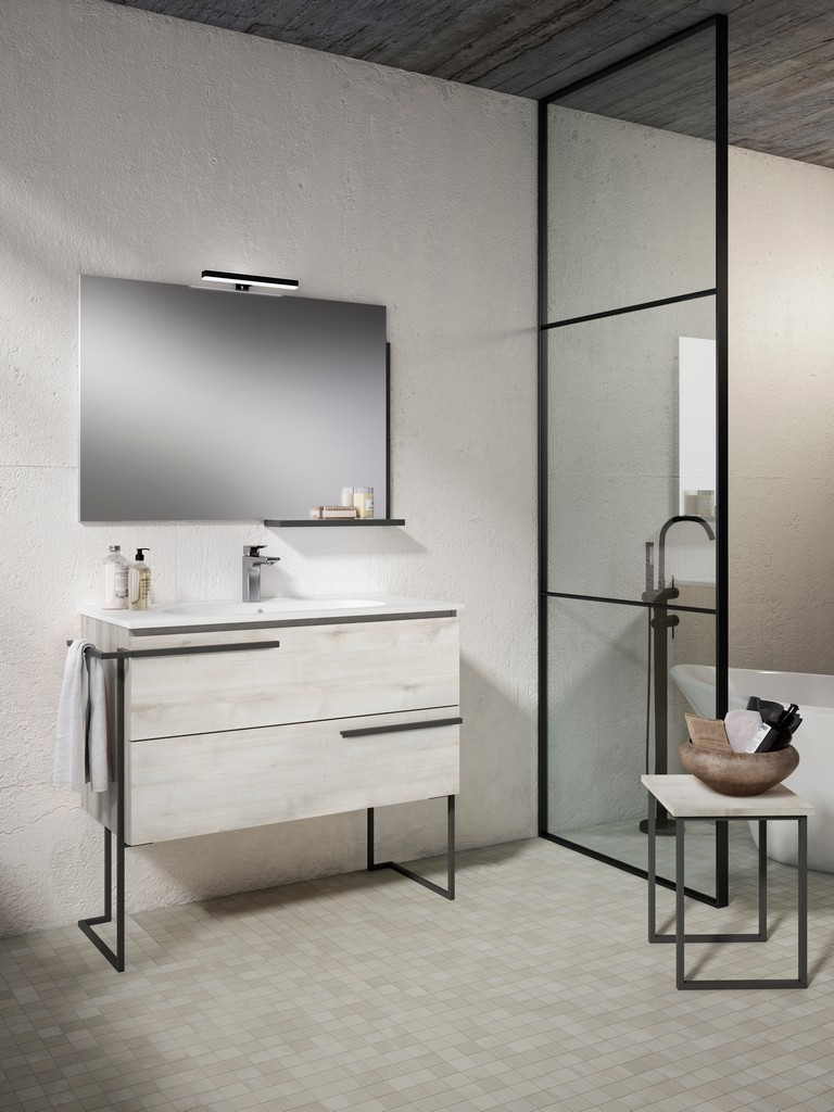 """40"""" Abedul Scala Vanity with Legs and Towel Bar - Lucena Bath 3886LTB"""