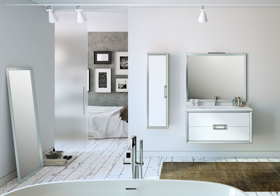 """32"""" White and Silver Decor Tirador Vanity - Lucena Bath 4260-01/silver"""