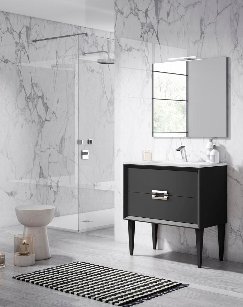 "40"" Black Decor Tirador Freestanding Vanity - Lucena Bath 42621"