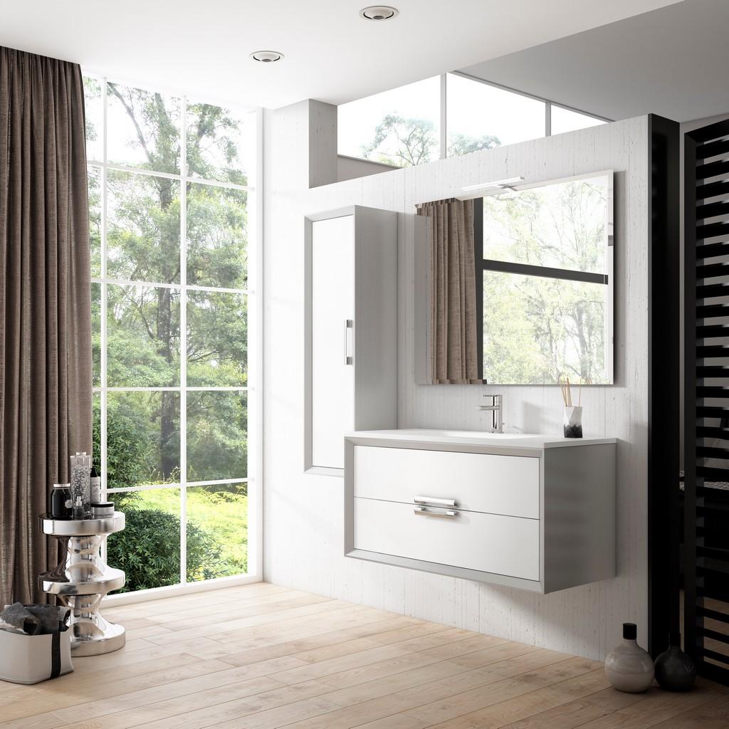 """40"""" White and Silver Decor Tirador Vanity - Lucena Bath 4267-01/silver"""