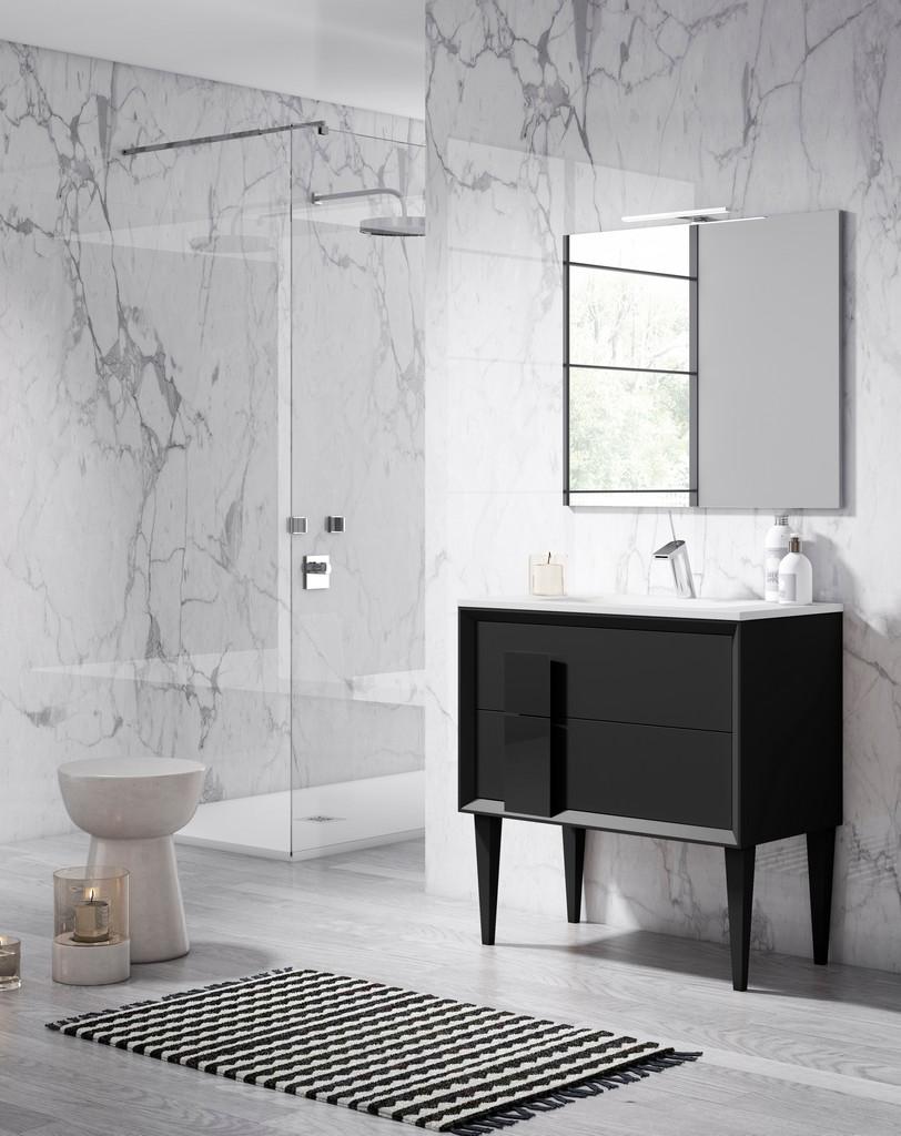 "24"" Bkack Decor Cristal Freestanding Vanity - Lucena Bath 42991"