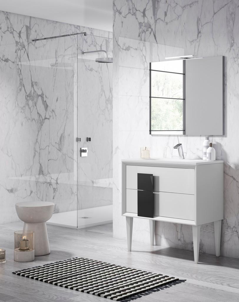 "24"" White and Black Cristal Freestanding Vanity - Lucena Bath 43041-01/black"