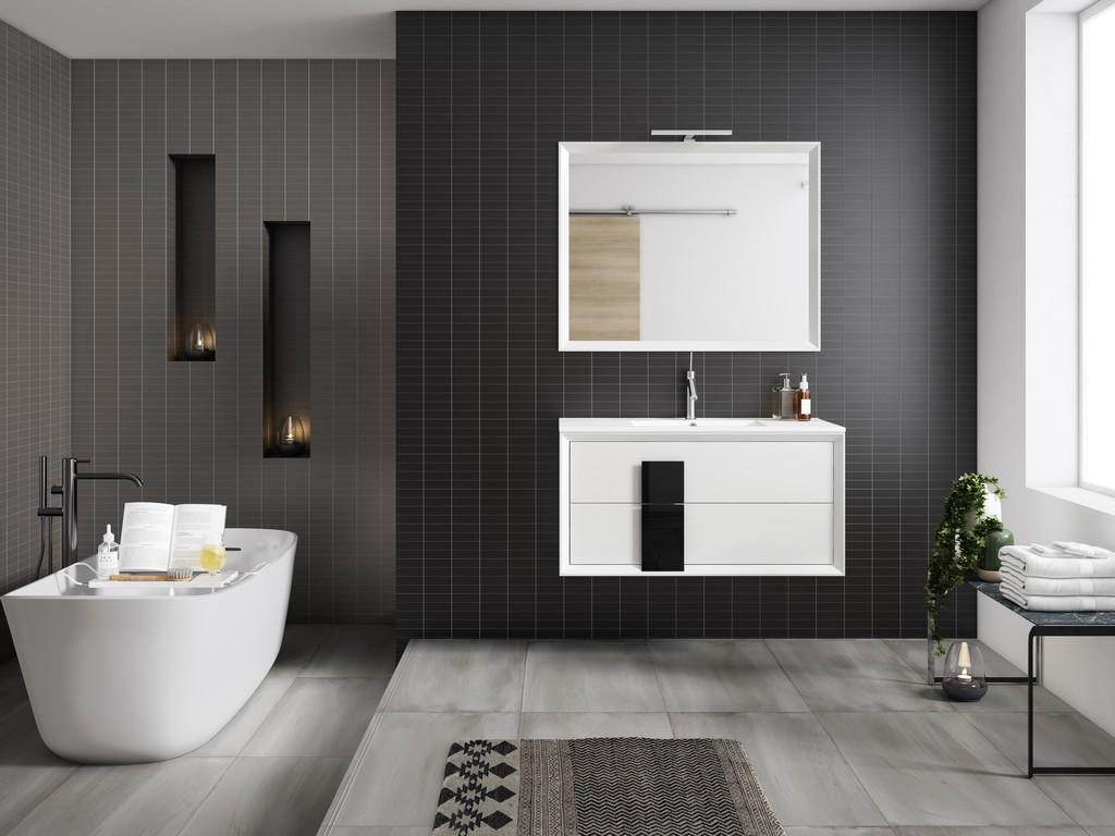 "40"" White and Black Cristal Vanity - Lucena Bath 4318-01/black"