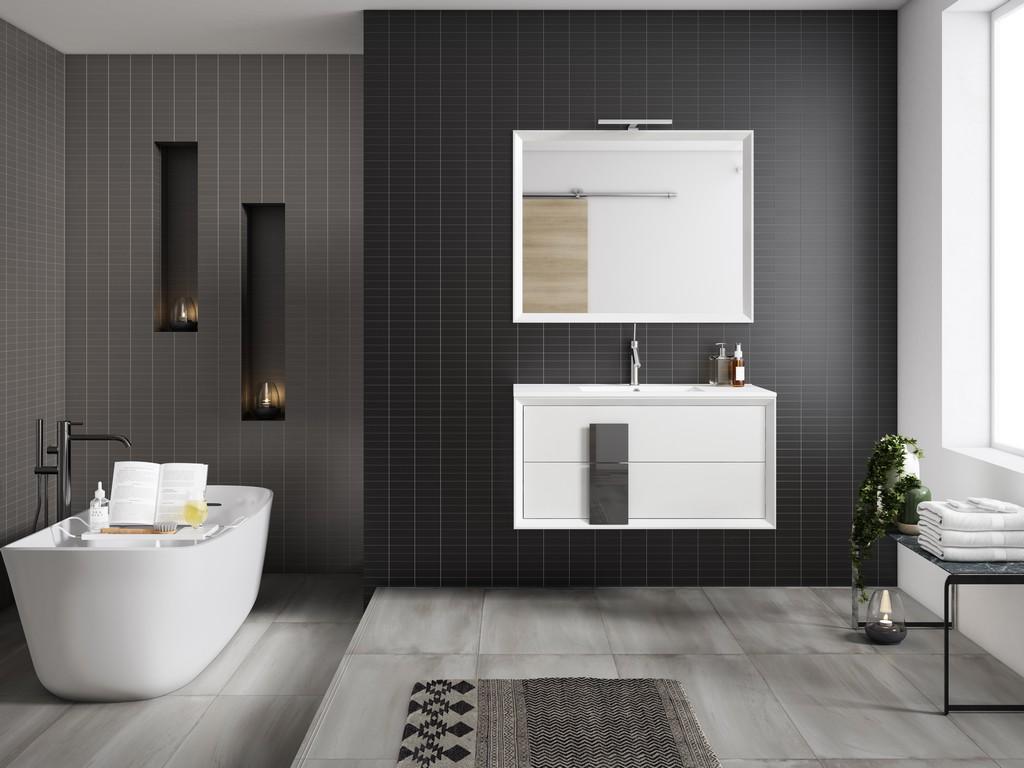 "40"" White and Grey Cristal Vanity - Lucena Bath 4318-01/grey"