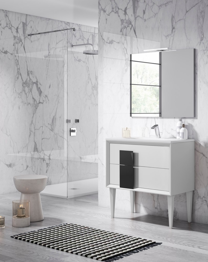 "40"" White and Black Cristal Freestanding Vanity - Lucena Bath 43181-01/black"