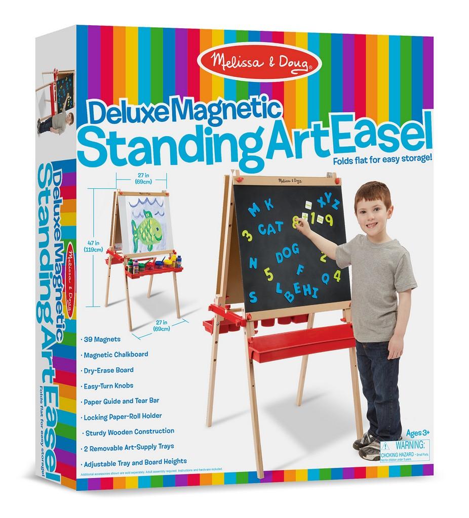 Melissa & Doug Deluxe Magnetic Standing Art Easel With Chalkboard - Melissa & Doug 9336