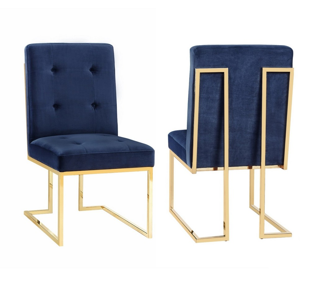 Akiko Navy Velvet Chair - Set of 2 - TOV Furniture TOV-D2051
