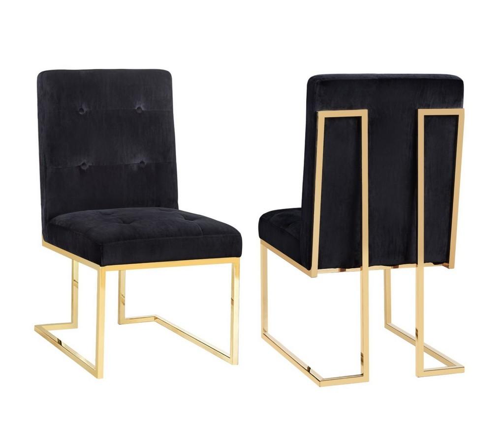 Akiko Black Velvet Chair - Set of 2 - TOV Furniture TOV-D2052