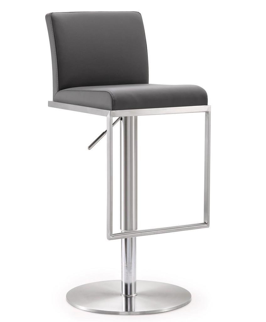 Amalfi Grey Stainless Steel Adjustable Barstool - TOV Furniture TOV-K3616