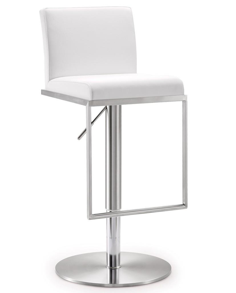 Amalfi White Stainless Steel Adjustable Barstool - TOV Furniture TOV-K3617