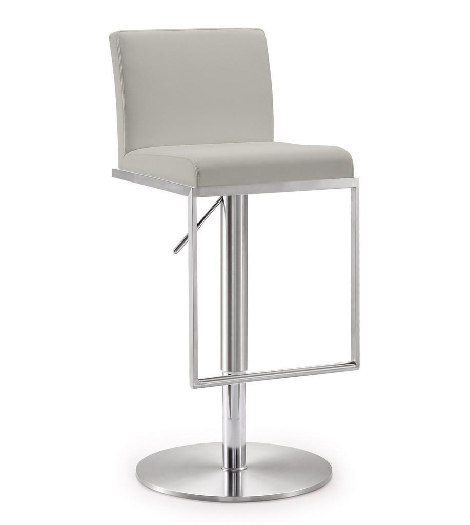 Amalfi Light Grey Stainless Steel Barstool - TOV Furniture TOV-K3654