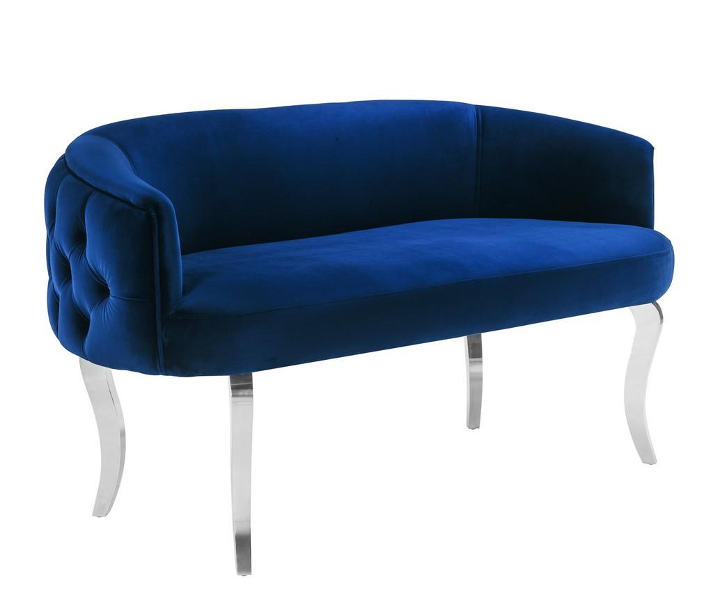 Adina Navy Velvet Loveseat with Silver Legs - TOV Furniture TOV-S136