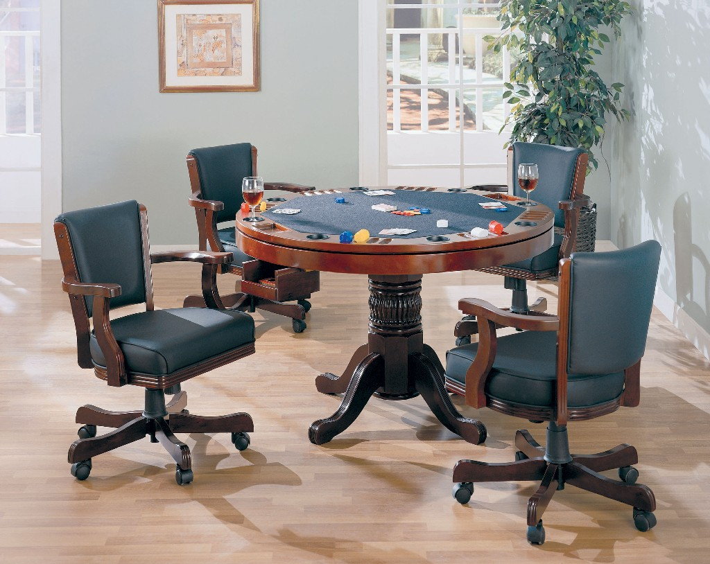 Coaster Mitchell Three One Game Table Four Arm Chairs