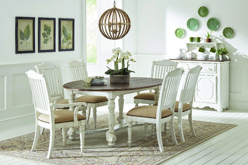 Coaster Vintage White Oval Dining Table Product Photo