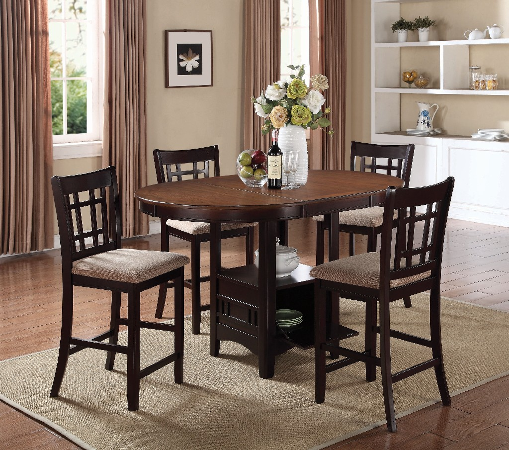 Coaster Lavon Transitional Espresso Five Counter Height Dining Set