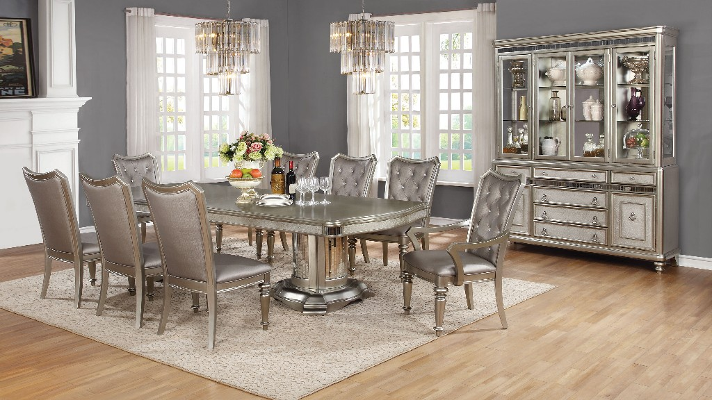 Metallic Seven Double Pedestal Dining Set
