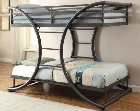 Coaster Stephan Contemporary Gunmetal Twin Over Twin Bunk Bed