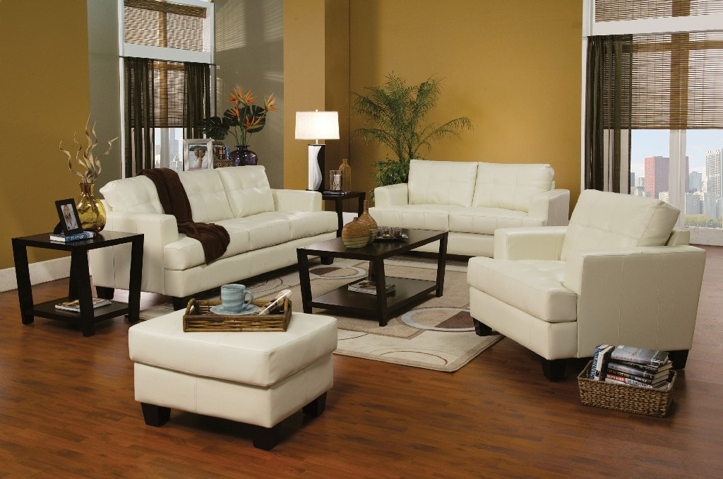 Transitional White Three Living Room Set