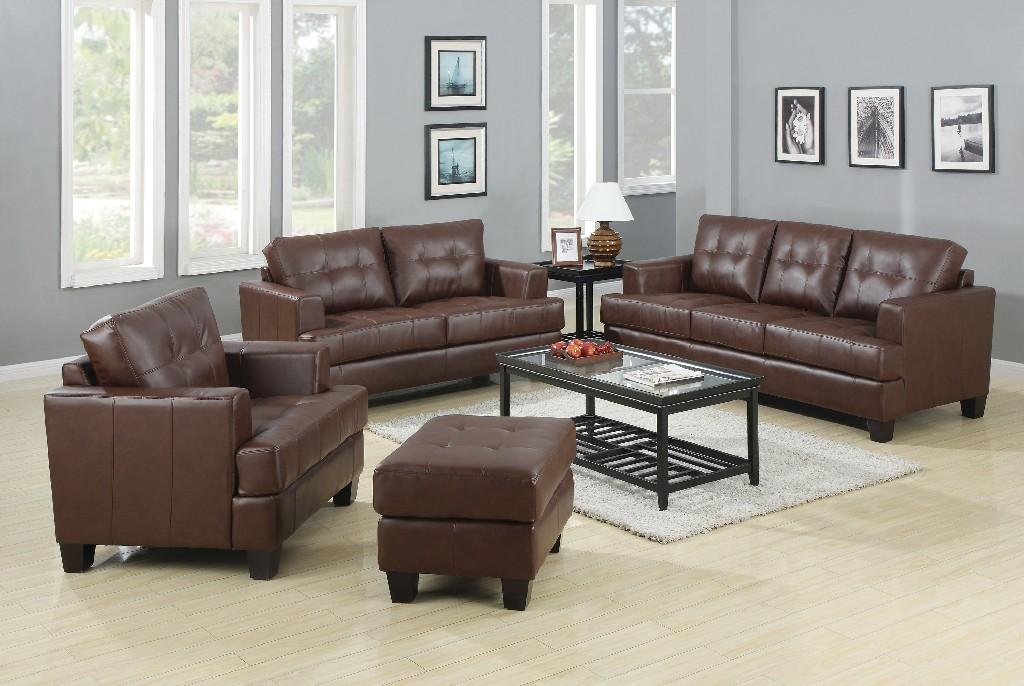 Coaster Transitional Brown Three Living Room Set