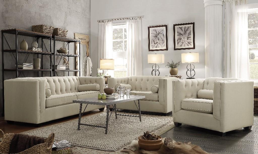Transitional Beige Three Living Room Set